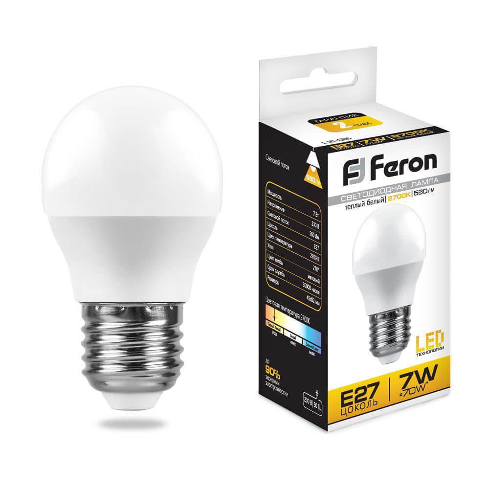 Лампа светодиодная Feron E27 7W 6400K Шар Матовая LB-95 25483 цена в Москве и Питере