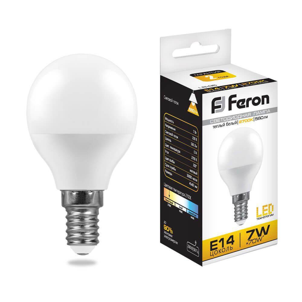 Лампа светодиодная Feron E14 7W 2700K Шар Матовая LB-95 25478 цена в Москве и Питере