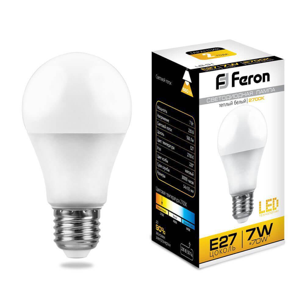 Лампа светодиодная Feron E27 7W 2700K Шар Матовая LB-91 25444 цена в Москве и Питере
