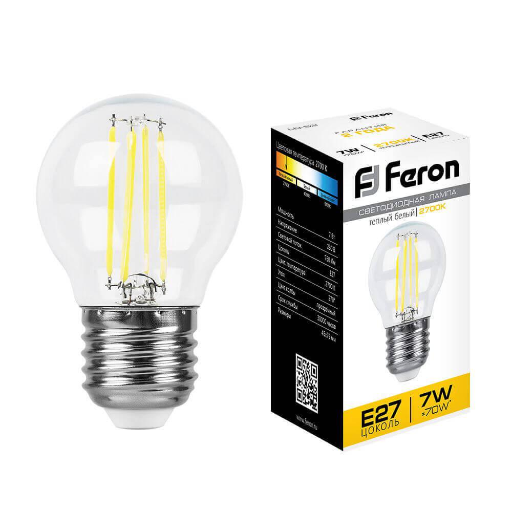 Лампа светодиодная филаментная Feron E27 7W 2700K Шар Прозрачная LB-52 25876 цена в Москве и Питере