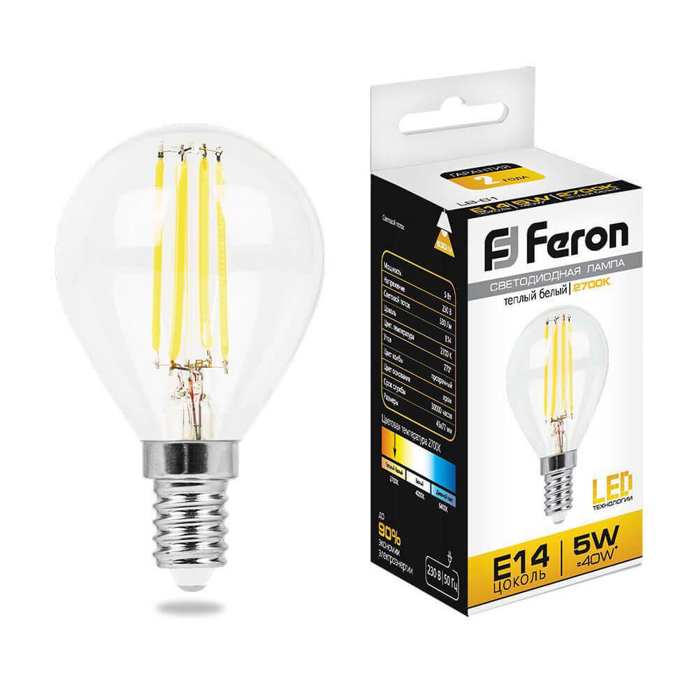 купить Лампа светодиодная филаментная Feron E14 5W 2700K Шар Прозрачная LB-61 25578 по цене 115 рублей