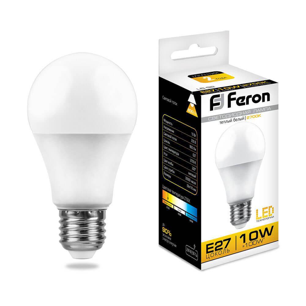 лампа светодиодная classic led d e27 10w 3300k шар матовый 4690389085536 Лампа светодиодная Feron E27 10W 2700K Шар Матовая LB-92 25457