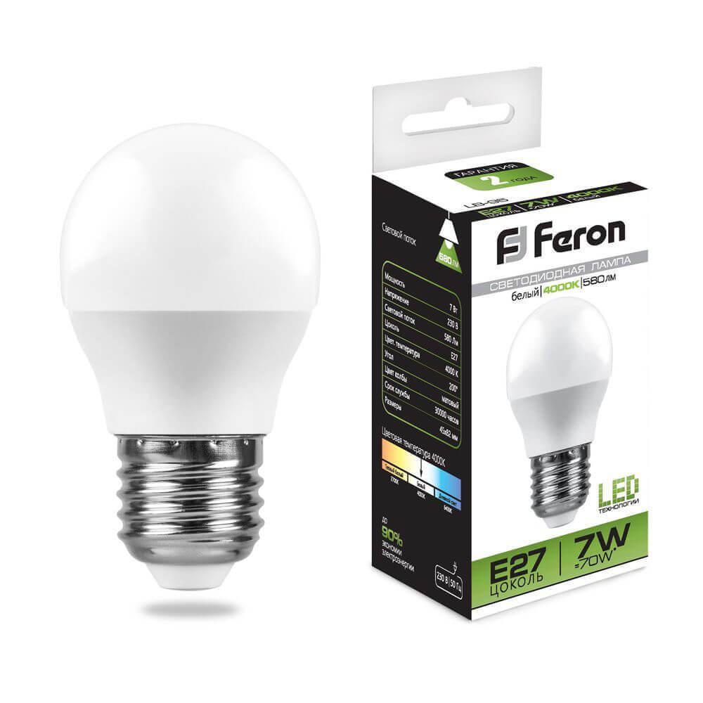 Лампа светодиодная Feron E27 7W 4000K Шар Матовая LB-95 25482 цена в Москве и Питере