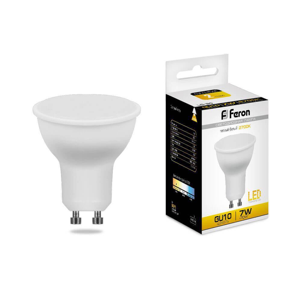 Лампа светодиодная Feron GU10 7W 2700K Грибок матовая LB-26 25289 цена