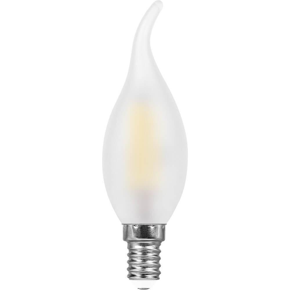 Лампа светодиодная филаментная Feron E14 9W 4000K Свеча на ветру Матовая LB-74 25961