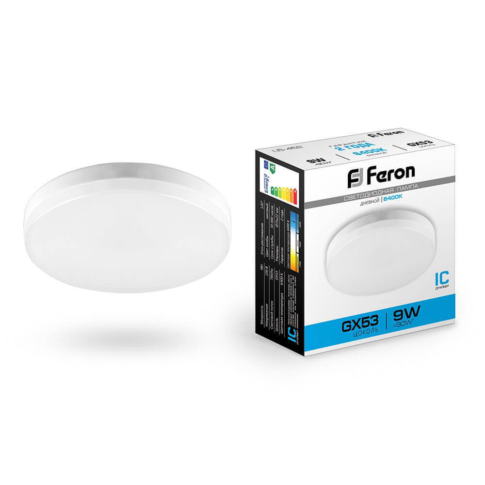 Лампа светодиодная Feron GX53 9W 6400K Таблетка Матовая LB-452 25867