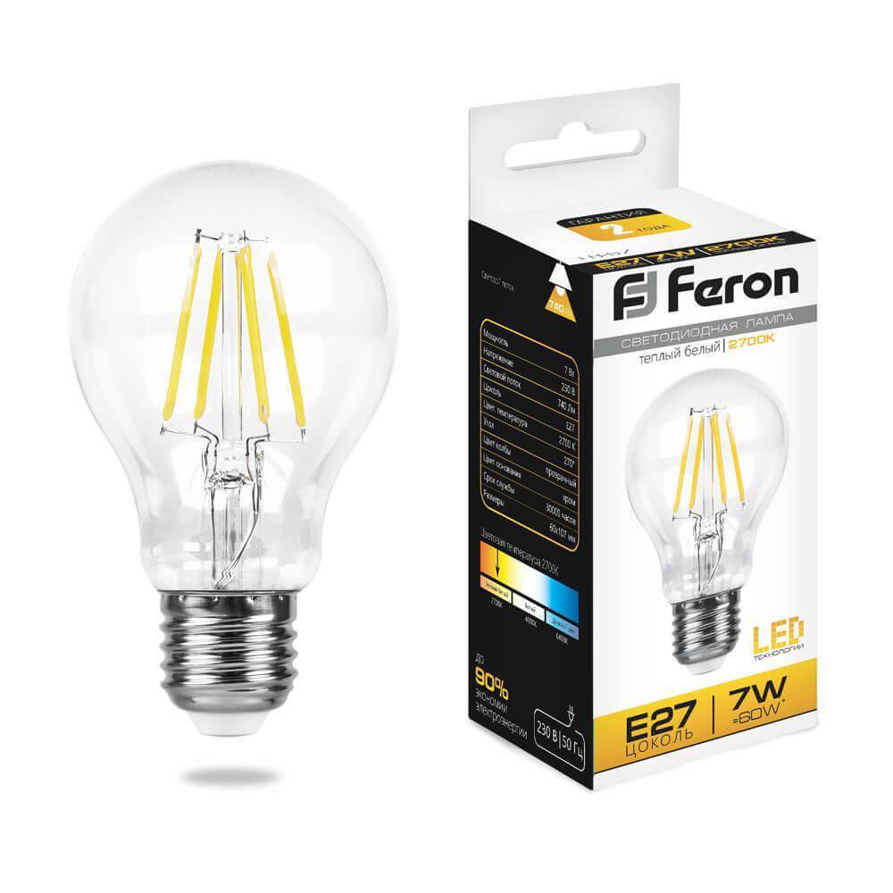 Лампа светодиодная филаментная Feron E27 7W 2700K Шар Прозрачная LB-57 25569 цена в Москве и Питере