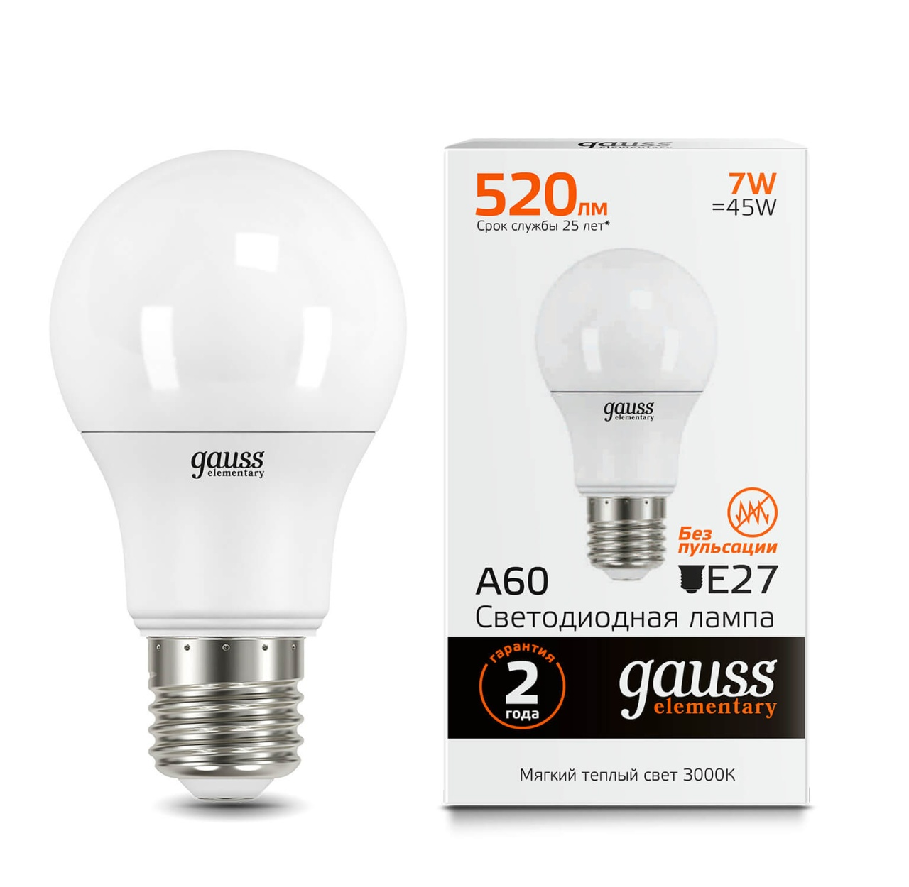 Лампочка Gauss 23217A Elementary A60 LED лампочка gauss 23227a elementary a60 led