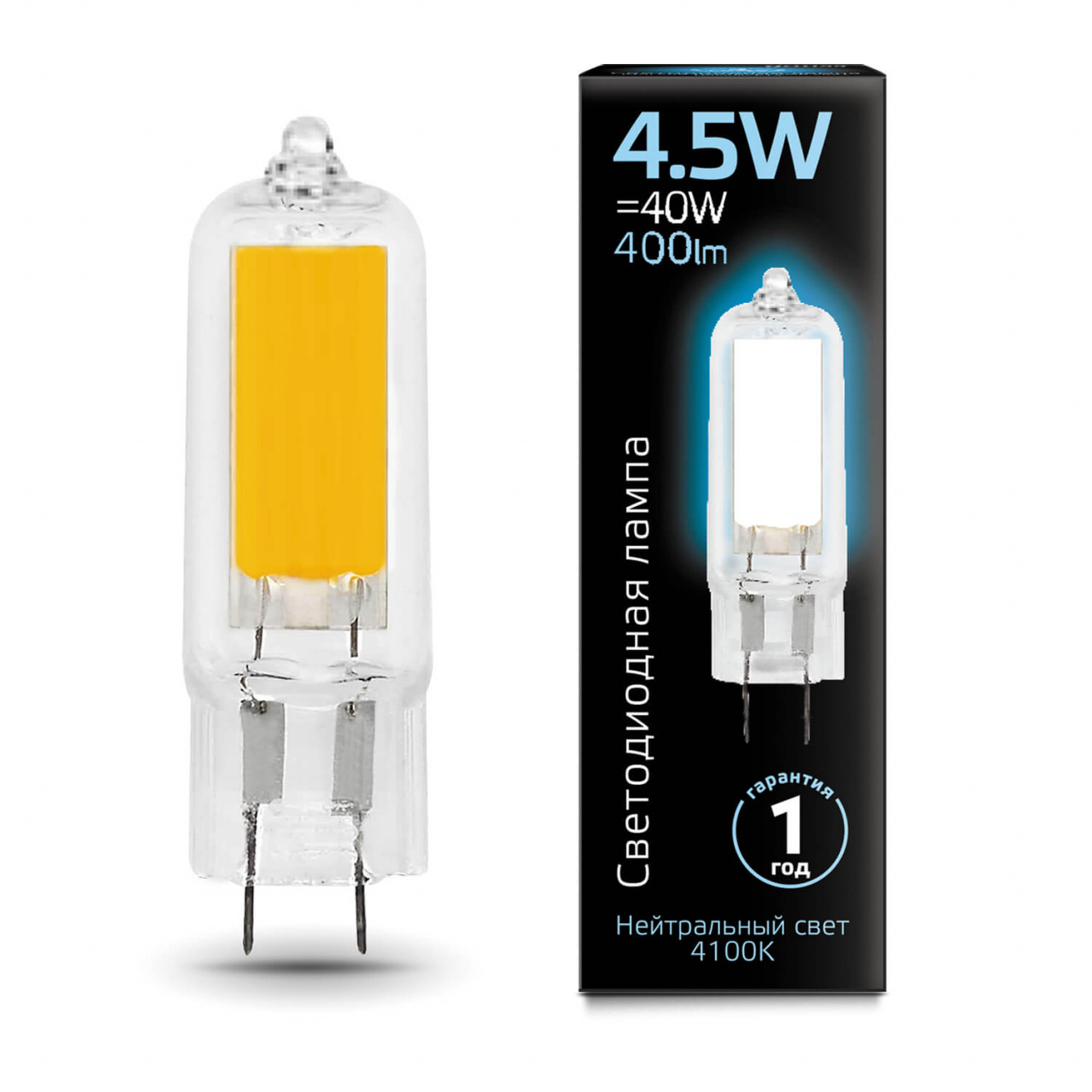 Лампа светодиодная Gauss G4 4.5W 4100K прозрачная 107807204 gauss лампа светодиодная gauss капсула прозрачная g4 3w 12v 4100k 207707203