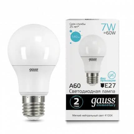 Лампочка Gauss 23227A Elementary A60 LED лампочка gauss 23227a elementary a60 led