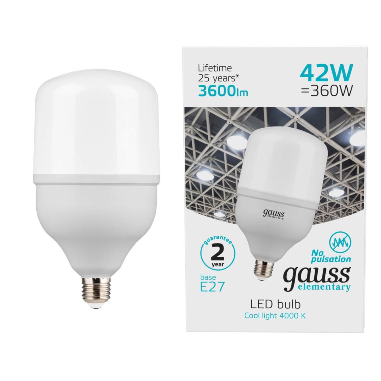 Лампа светодиодная Gauss E27 42W 6500K матовая 63234 лампочка gauss elementary e27 t120 42w 3700lm 180 240v 6500k 63234