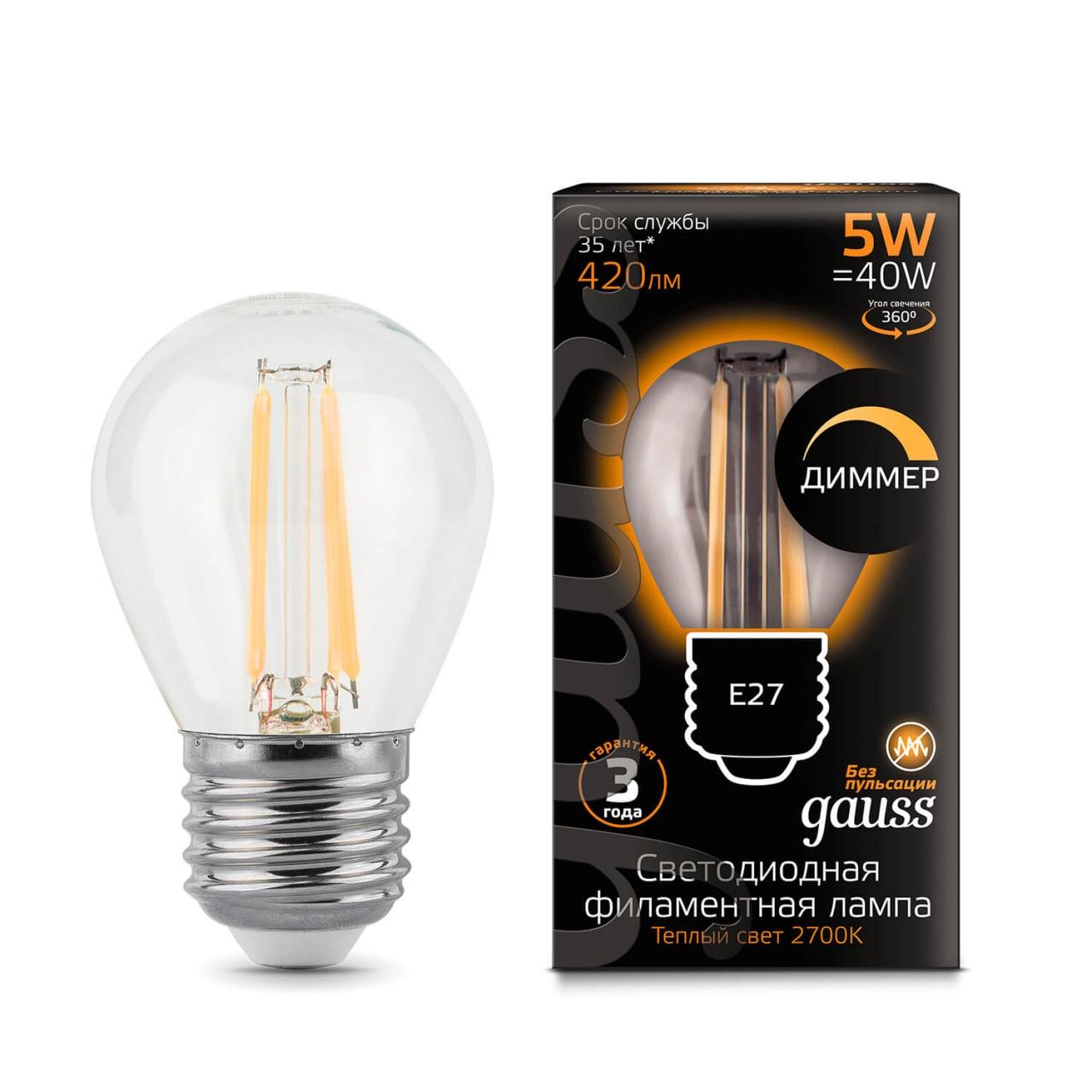 Лампочка Gauss 105802105-D Filament Globe D (Диммирование) стоимость