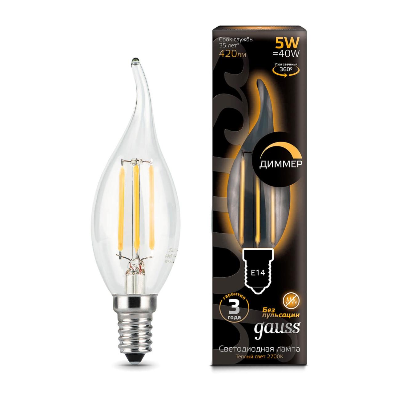 Лампочка Gauss 104801105-D Filament Candle D (Диммирование)