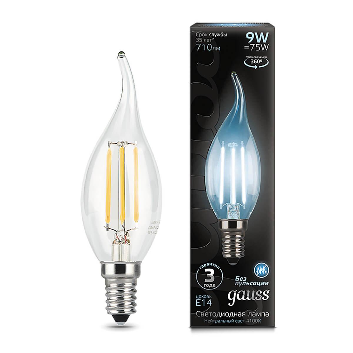 Лампа светодиодная филаментная Gauss E14 9W 4100К прозрачная 104801209 цена и фото