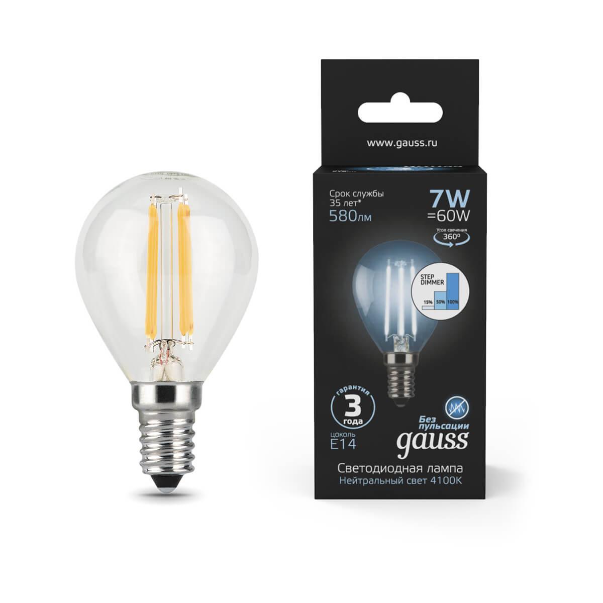 Лампочка Gauss 105801207-S Filament Globe (Пошаговое диммирование)