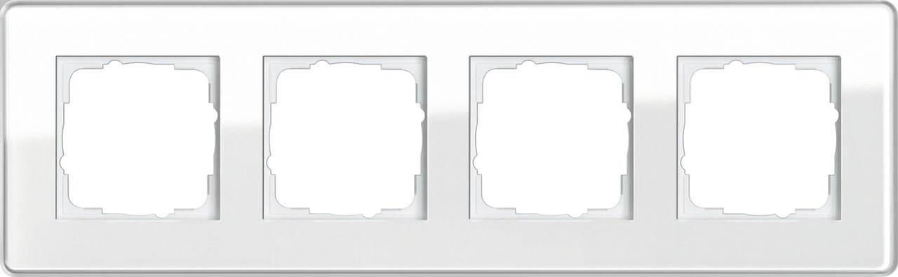 Рамка 4-постовая Gira Esprit C белое стекло 0214512 все цены