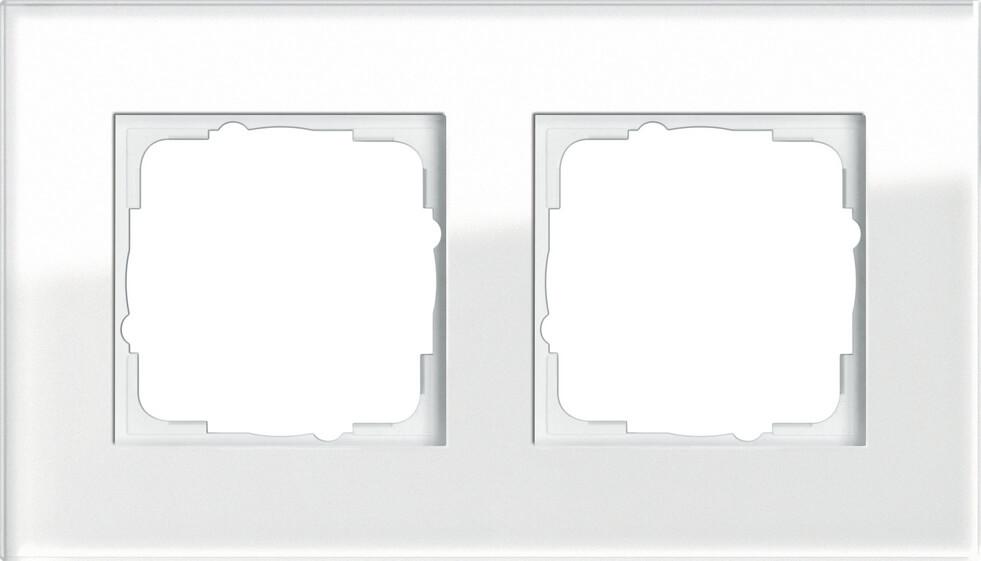 Рамка 2-постовая Gira Esprit белое стекло 021212 цена 2017