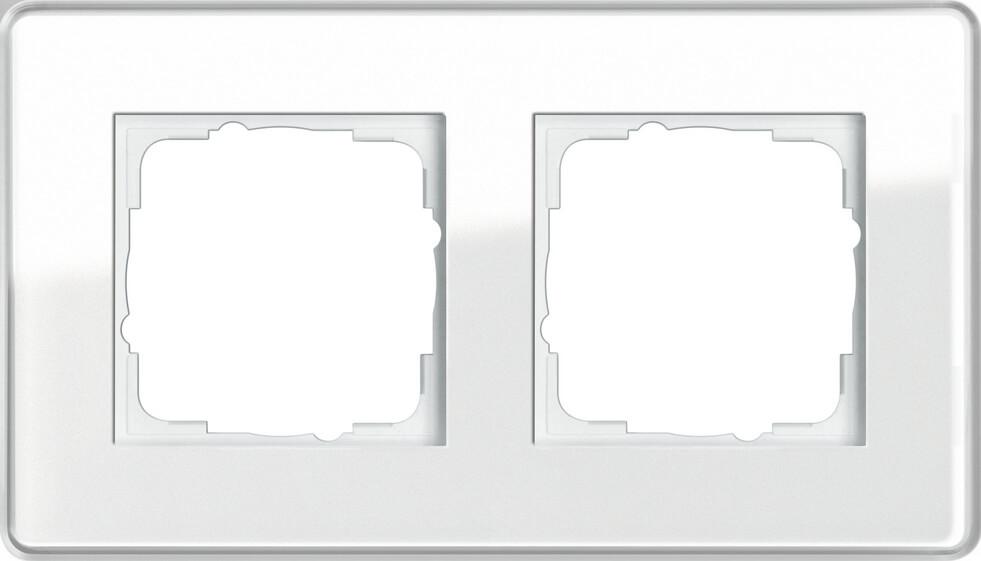 Рамка 2-постовая Gira Esprit C белое стекло 0212512 все цены