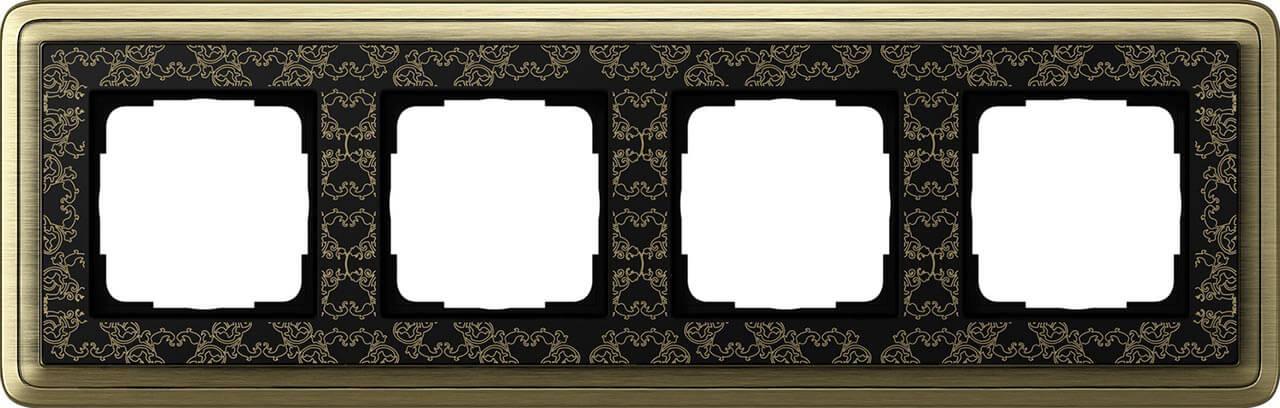 Рамка 4-постовая Gira ClassiX Art бронза/черный 0214662