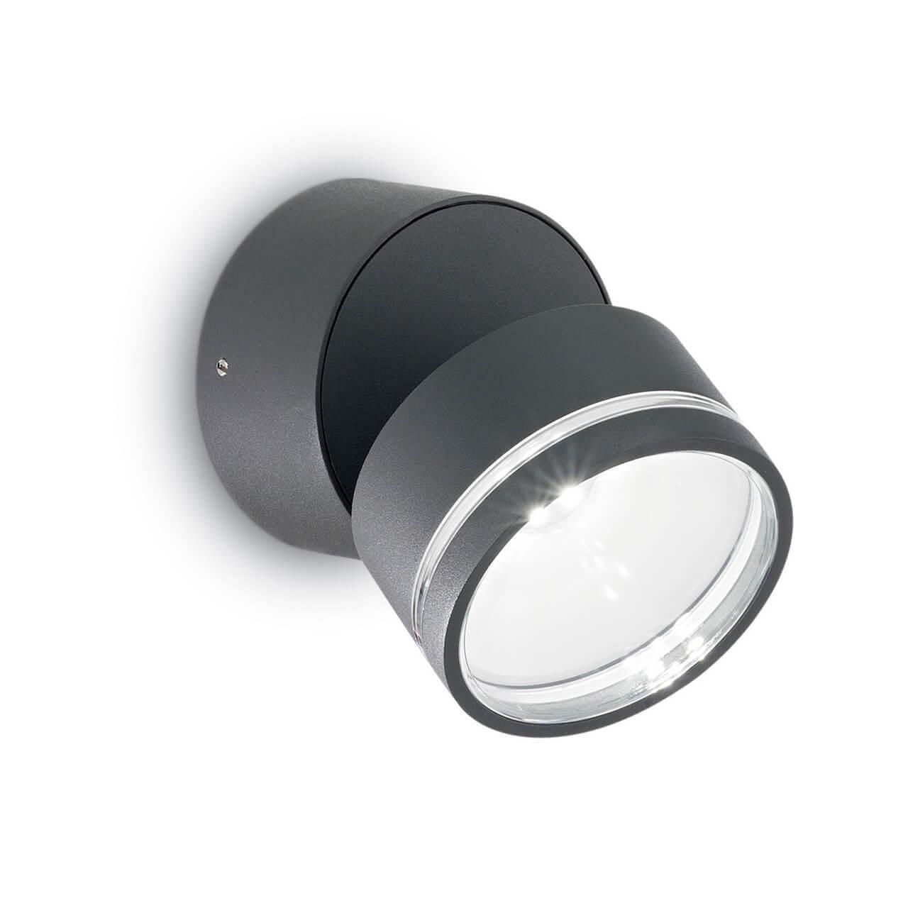 Уличный настенный светодиодный светильник Ideal Lux Omega Round AP1 Antracite цена и фото