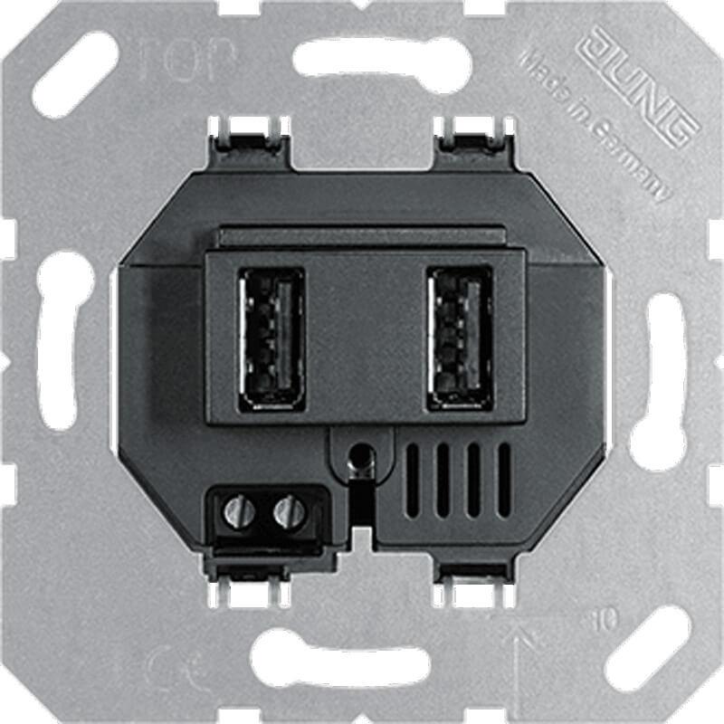 Розетка 2-я зарядная USB Jung черная USB3-2SW high quality usb3 0