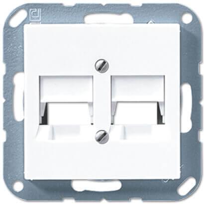 лучшая цена Накладка АМР для двойных модульных гнезд Jung A 500 белая A569-25NWEWW