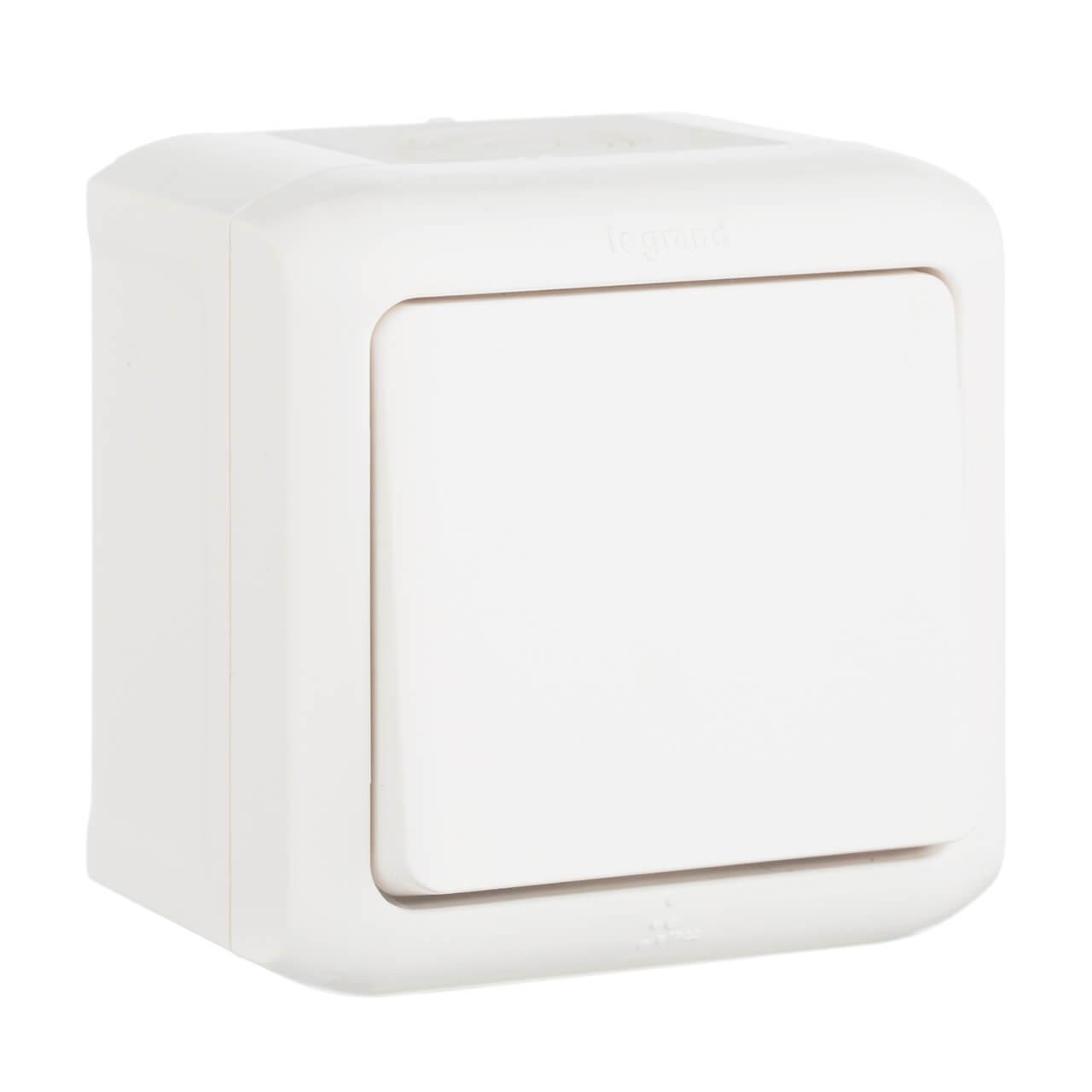 Переключатель одноклавишный на 2 направления Legrand Quteo 10A 250V IP44 белый 782304 выключатель одноклавишный кнопочный legrand quteo 6a 250v белый 782205