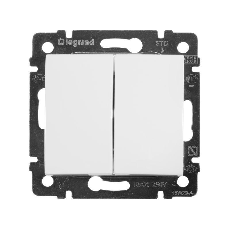 Выключатель двухклавишный Legrand Valena 10A 250V белый 774405