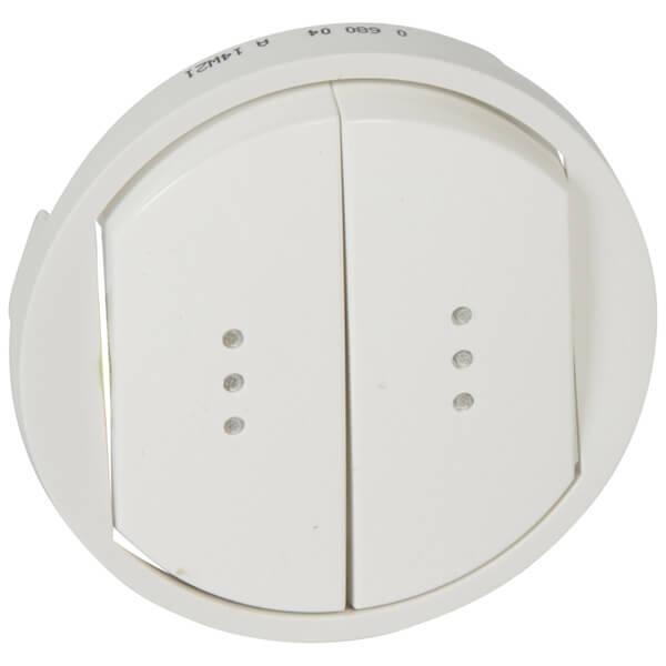 Лицевая панель Legrand Celiane выключателя двухклавишного с подсветкой белая 068004 цены