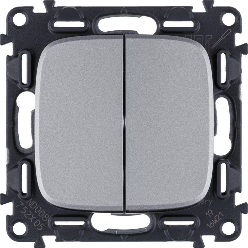 Выключатель двухклавишный Legrand Valena Allure 10A 250V алюминий 752905 выключатель одноклавишный legrand valena allure 10a 250v алюминий 752901