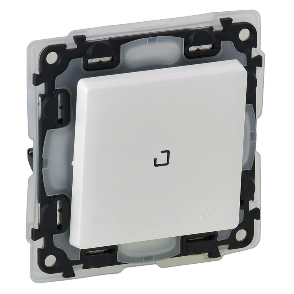 Выключатель одноклавишный Legrand Valena Life 10A 250V IP44 с подсветкой белый 752161