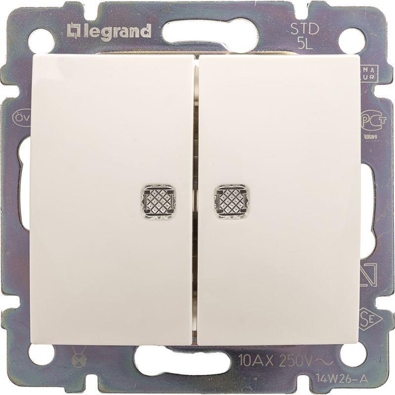 Переключатель двухклавишный на 2 направления Legrand Valena 10A 250V с подсветкой белый 774212 выключатель двухклавишный legrand valena life 10a 250v с подсветкой белый 752428