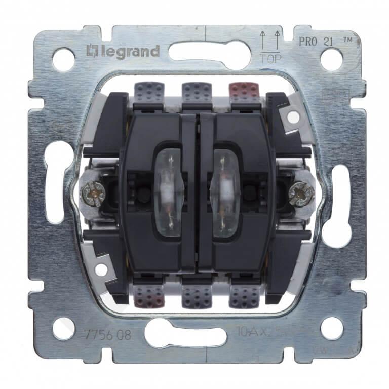 Переключатель двухклавишный на 2 направления Legrand Galea Life 10A 250V с подсветкой 775608
