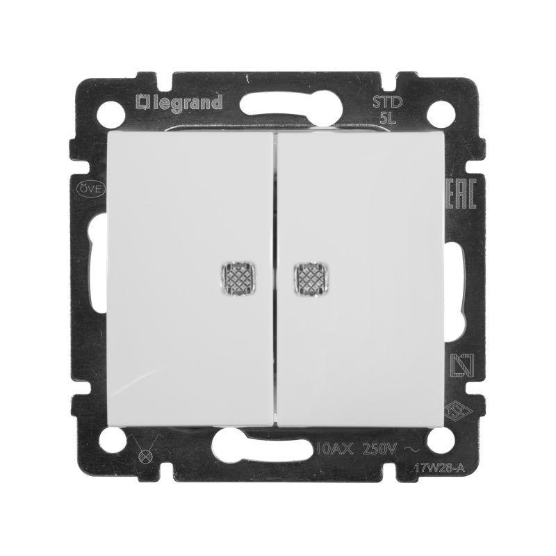Переключатель двухклавишный Legrand Valena 10A 250V с подсветкой белый 774428 выключатель двухклавишный legrand valena life 10a 250v с подсветкой белый 752428