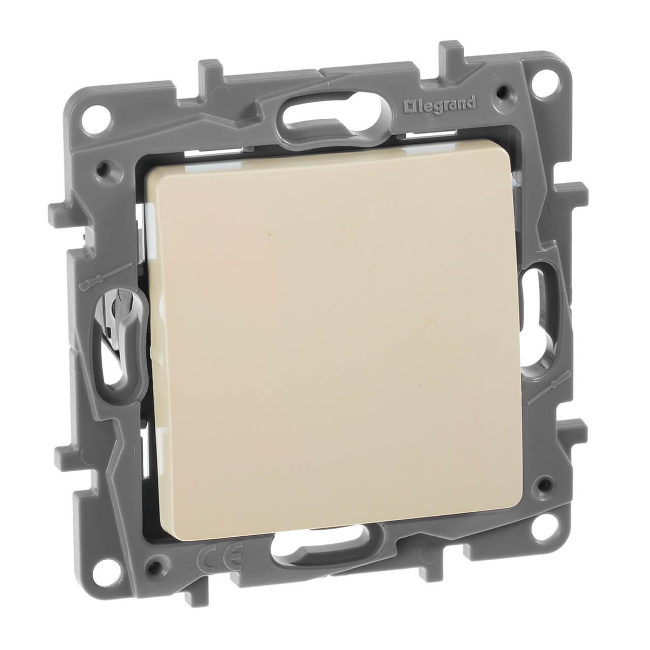 Выключатель кнопочный одноклавишный Legrand Etika 6A 250V слоновая кость 672314 выключатель одноклавишный кнопочный legrand quteo 6a 250v белый 782205