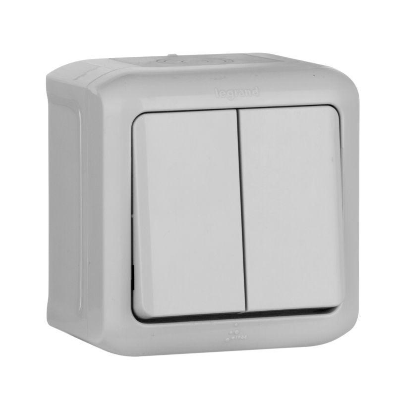 Выключатель двухклавишный Legrand Quteo 10A 250V IP44 серый 782332