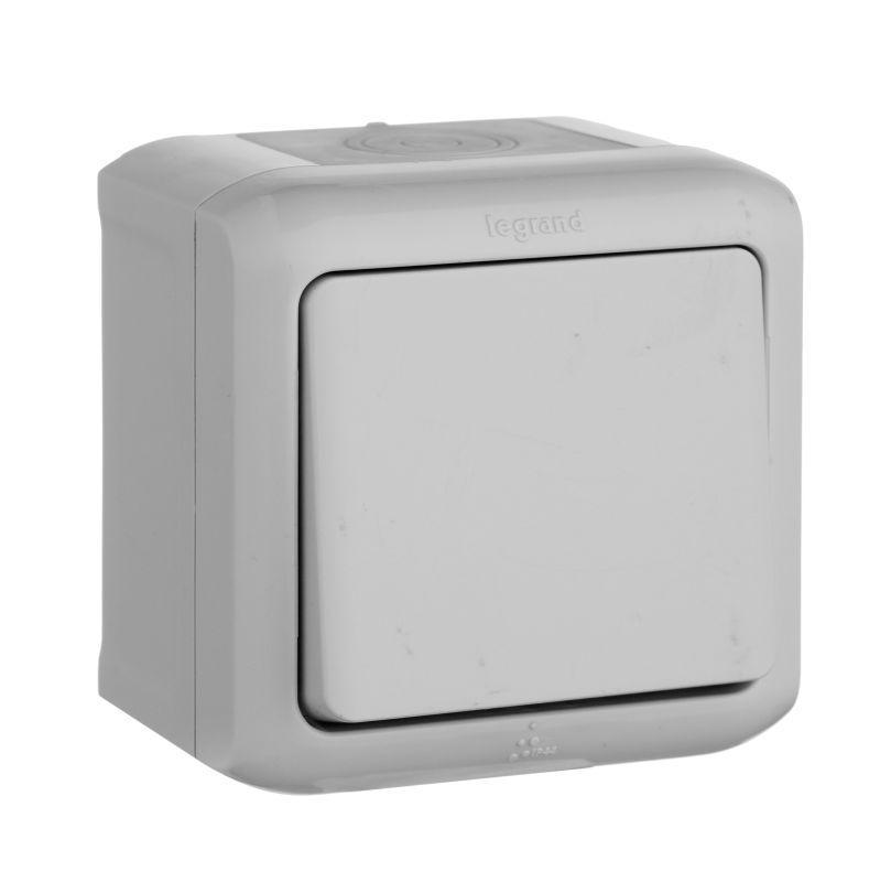 Выключатель одноклавишный Legrand Quteo 10A 250V IP44 серый 782330 выключатель одноклавишный кнопочный legrand quteo 6a 250v белый 782205