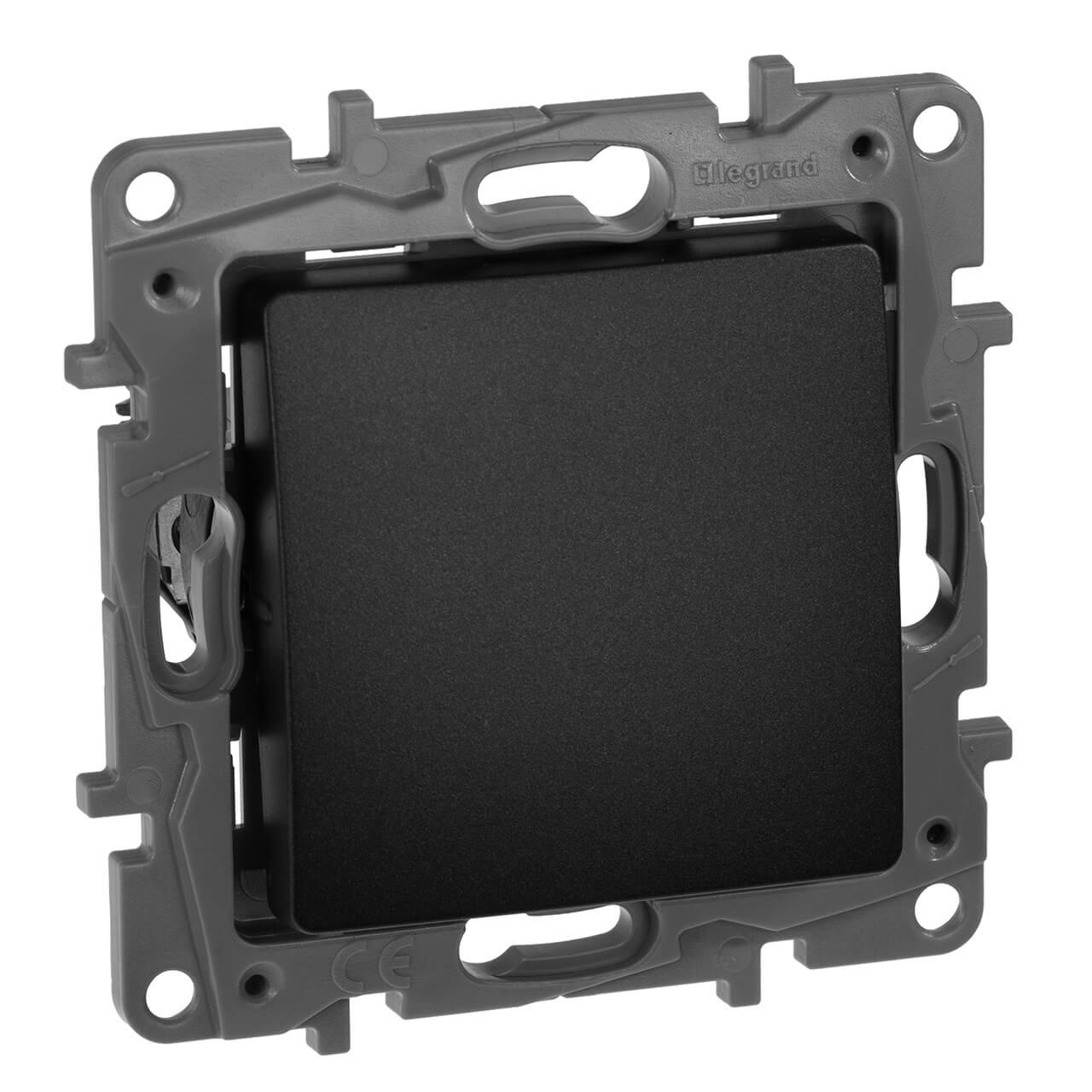 Выключатель кнопочный одноклавишный Legrand Etika 6A 250V антрацит 672614 выключатель одноклавишный кнопочный legrand quteo 6a 250v белый 782205
