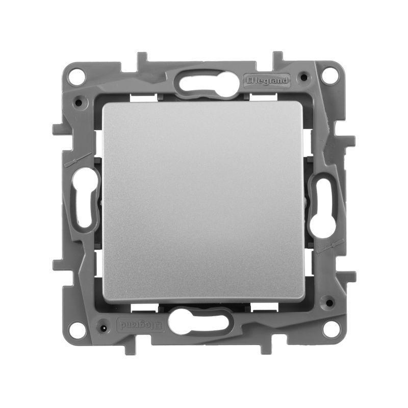 Выключатель одноклавишный Legrand Etika 10A 250V алюминий 672401 выключатель одноклавишный legrand valena allure 10a 250v алюминий 752901