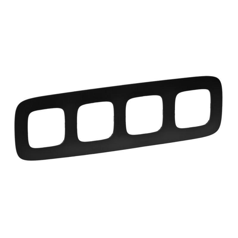 Рамка 4-постовая Legrand Valena Allure Матовый черный 754404 legrand legrand valena allure барокко нуар рамка 3 ая 754433