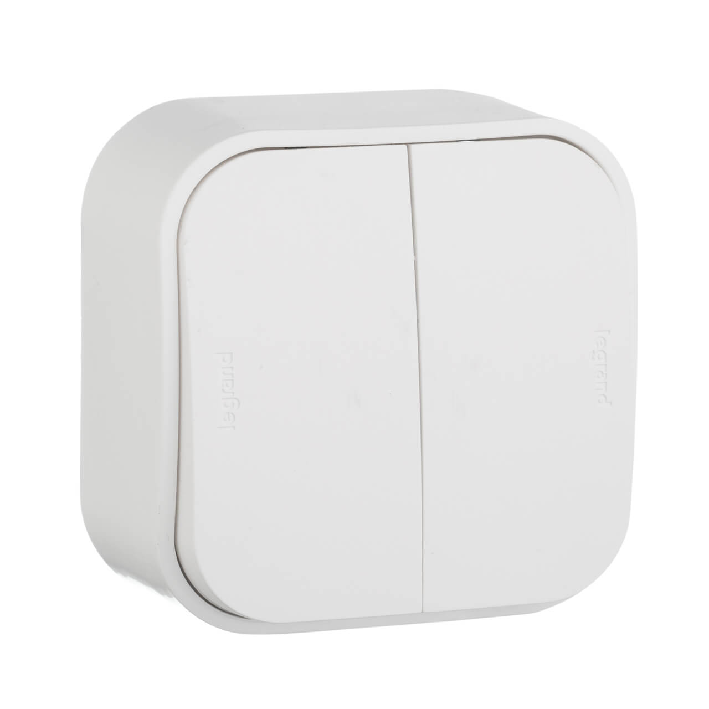 Выключатель двухклавишный Legrand Quteo 10A 250V белый 782202 выключатель одноклавишный кнопочный legrand quteo 6a 250v белый 782205