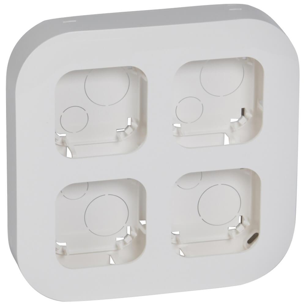 Блок установочный 4-постовый Legrand Quteo для накладного монтажа белый 782294 бокс для накладного монтажа rexant bn 01 бежевый