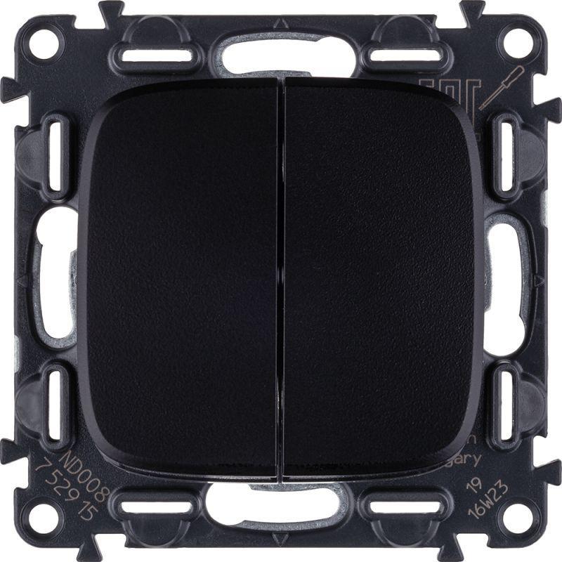Выключатель двухклавишный Legrand Valena Allure 10A 250V антрацит 752915 выключатель одноклавишный legrand valena allure 10a 250v алюминий 752901