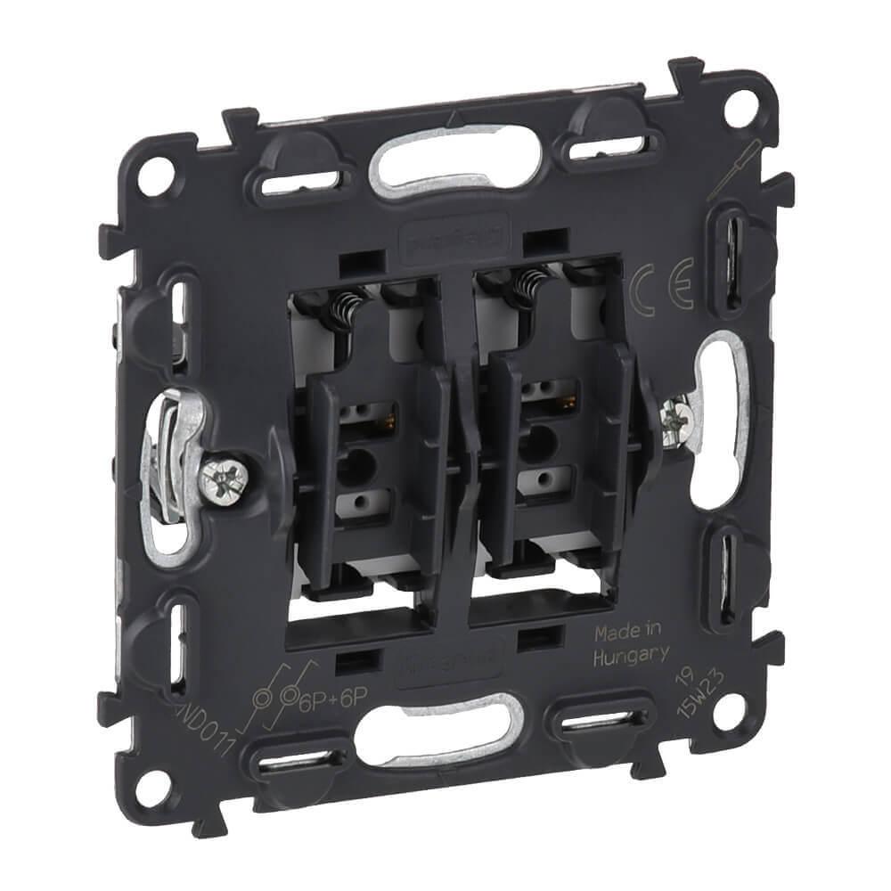 Выключатель кнопочный двухклавишный Legrand Valena Мех In Matic 6A 250V подсветка безв. зажим 752018