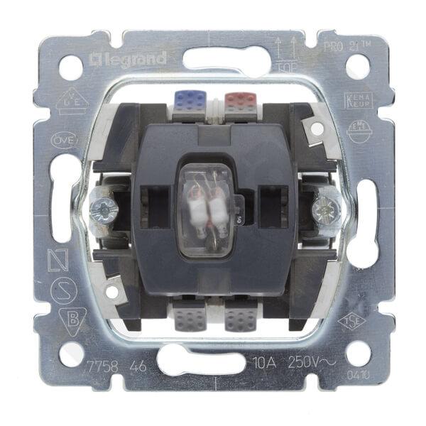 Выключатель одноклавишный кнопочный на 2 направления Legrand Galea Life 10A 250V с нейтралью подсветкой 775846 выключатель одноклавишный кнопочный legrand quteo 6a 250v белый 782205