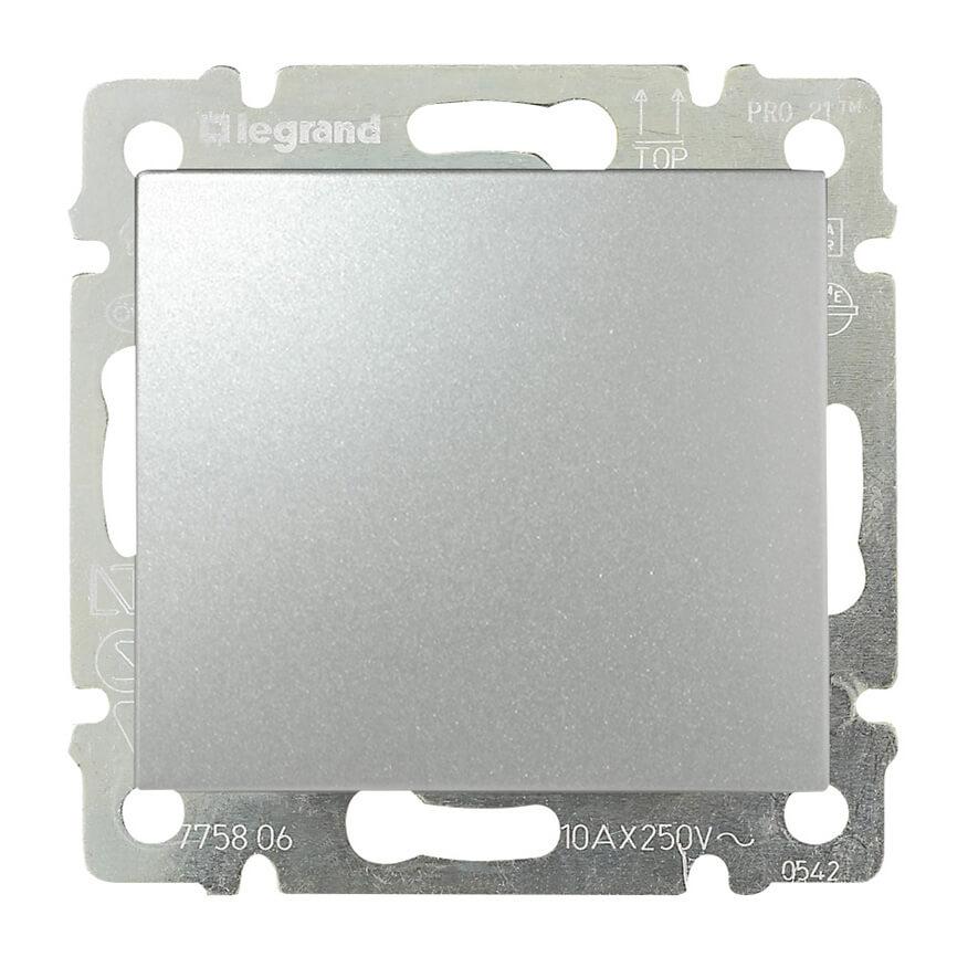 Выключатель кнопочный одноклавишный Legrand Valena алюминий 770111 выключатель одноклавишный legrand tcl k5