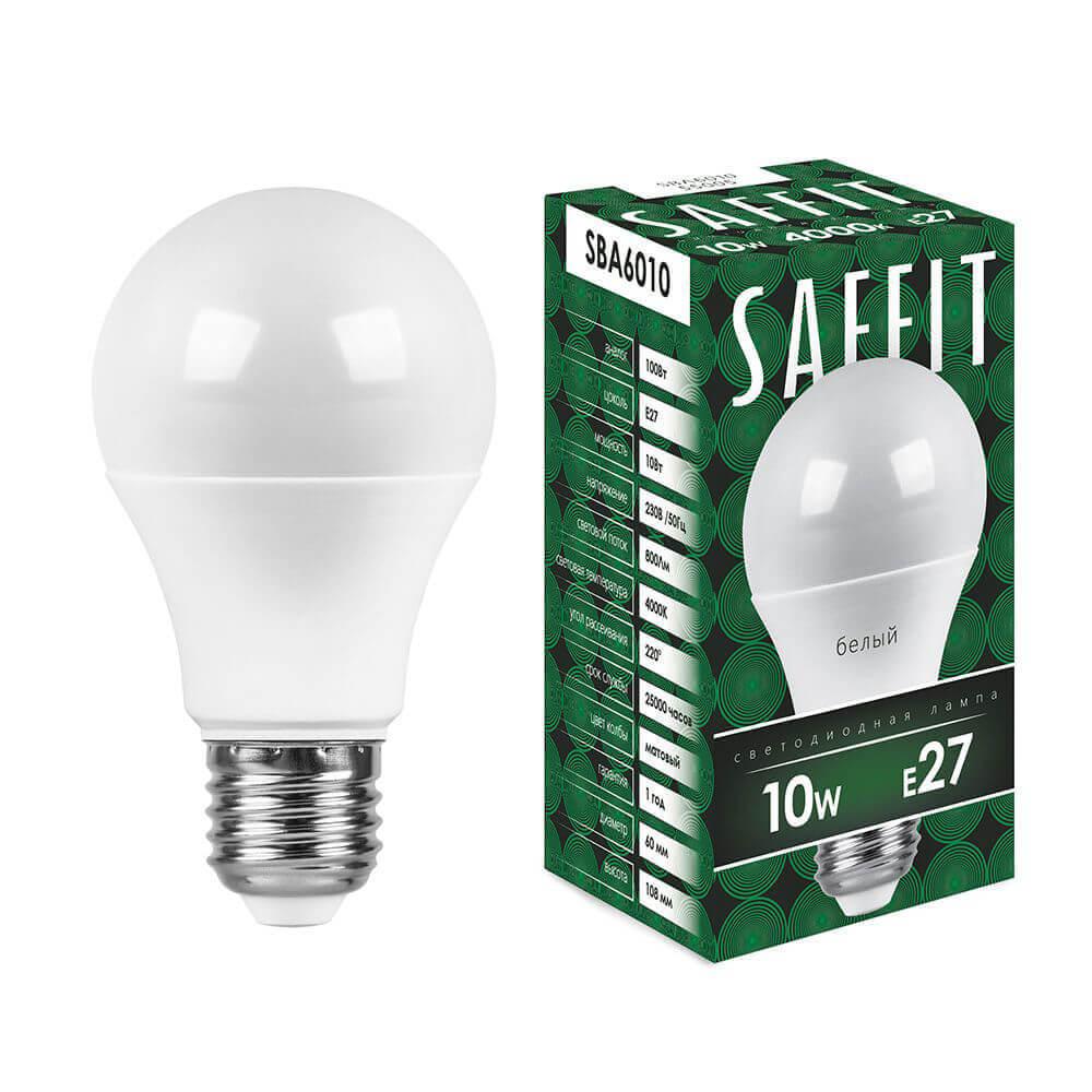 лампа светодиодная classic led d e27 10w 3300k шар матовый 4690389085536 Лампа светодиодная Saffit E27 10W 4000K Шар Матовая SBA6010 55005