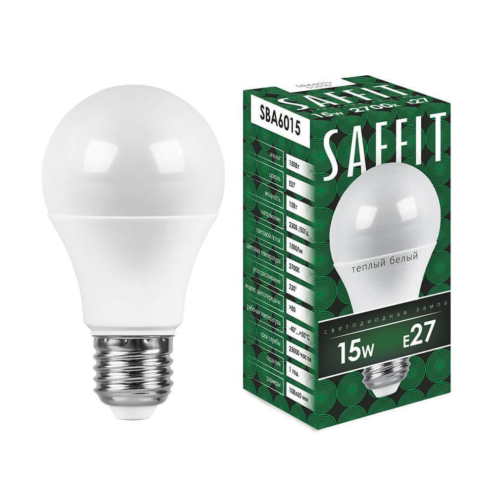 Лампа светодиодная Saffit E27 15W 2700K Шар Матовая SBA6015 55010
