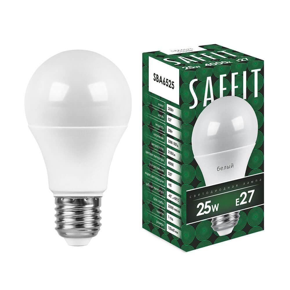Лампа светодиодная Saffit E27 25W 4000K Шар Матовая SBA6525 55088