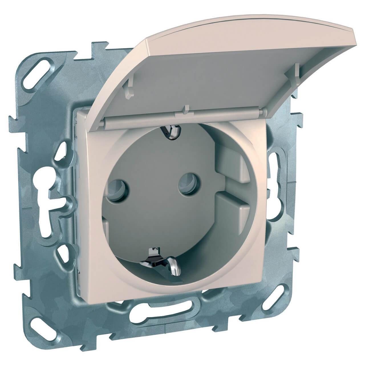Розетка Schneider Electric Unica с/з со шторкамии крышкой 16A 250V MGU5.037.25TAZD
